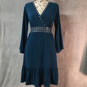Michael Kors New NET Luxe Teal Dress Green Blue XS